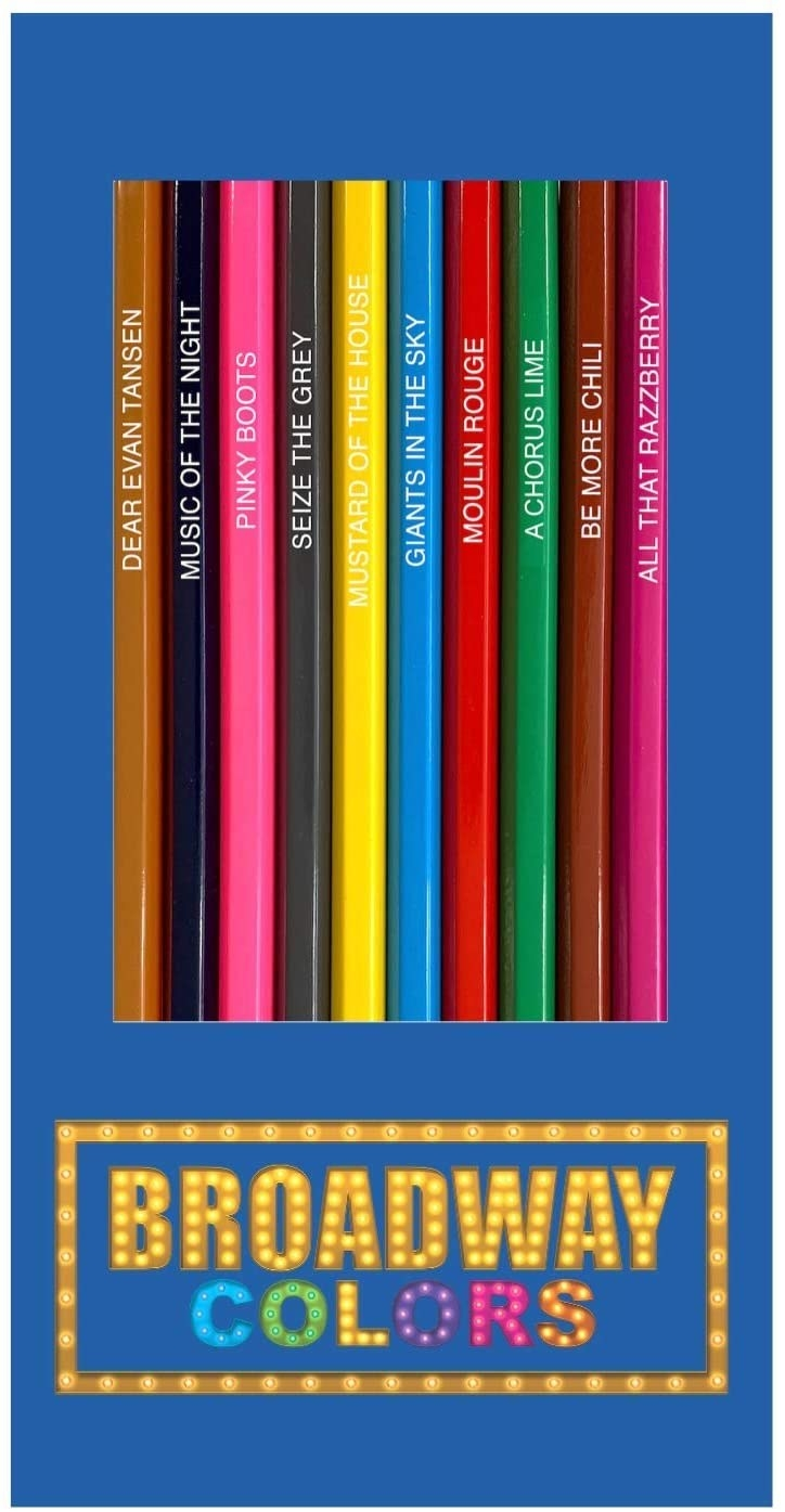 The Broadway Colors pencils with thier punny names