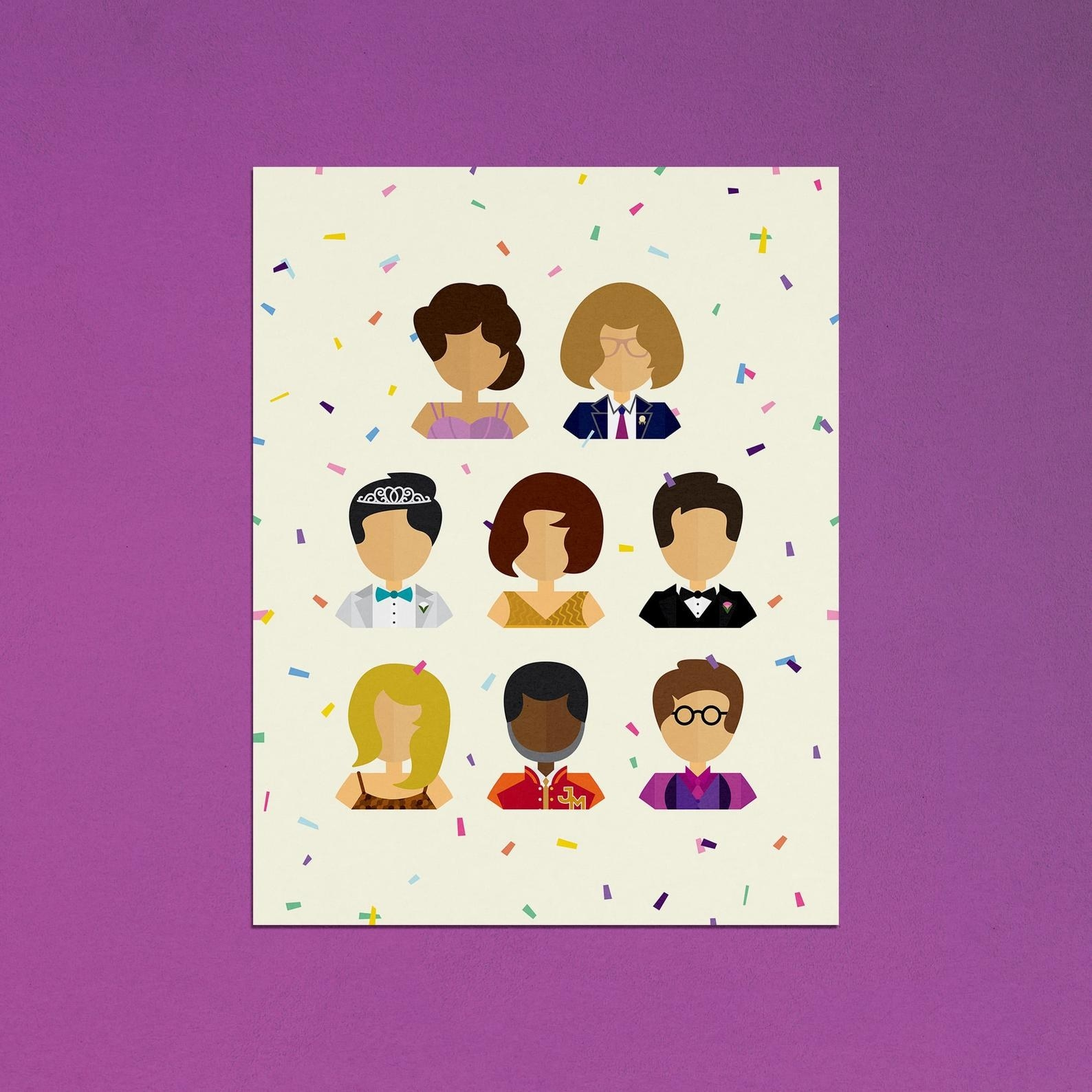 Rectangle print with confetti and illustrations of characters of the musical on it