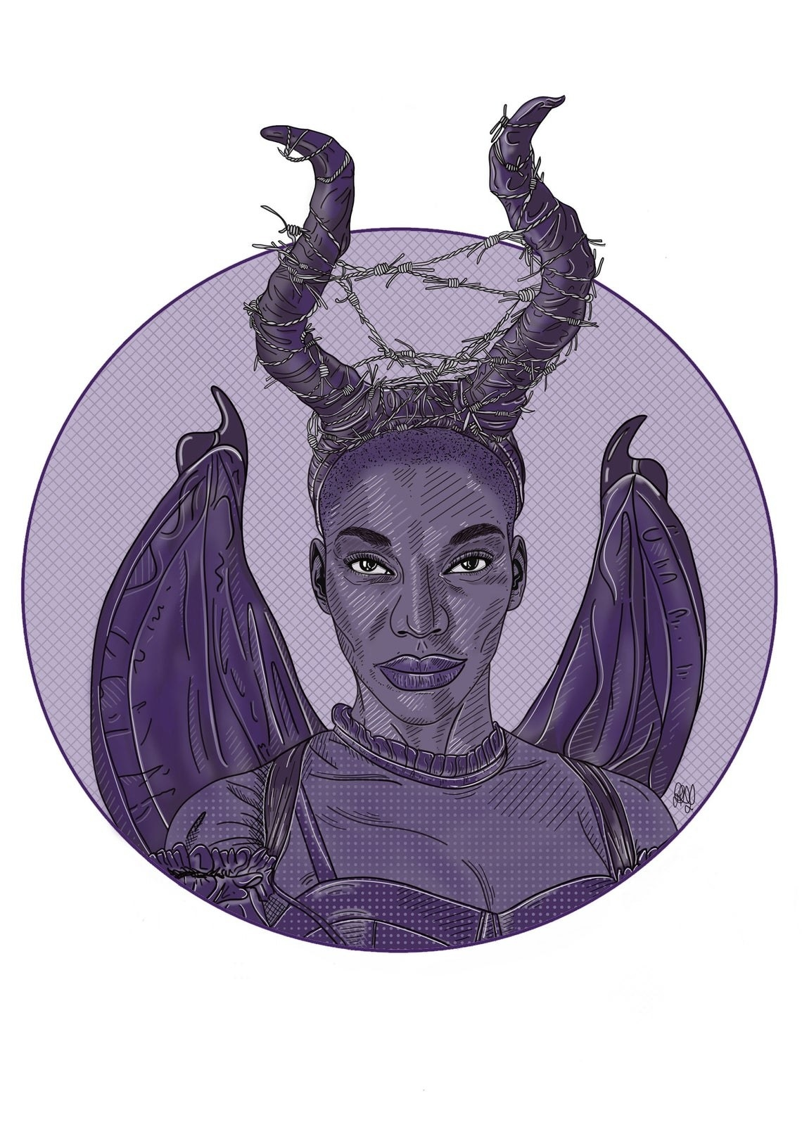 A hand drawn image of Arabella from I May Destroy You wearing devil horns and wings for Halloween