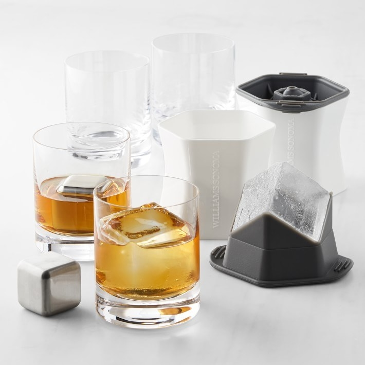 Gift set featuring two old fashioned glasses, two whiskey cubes and two colossal cube ice molds