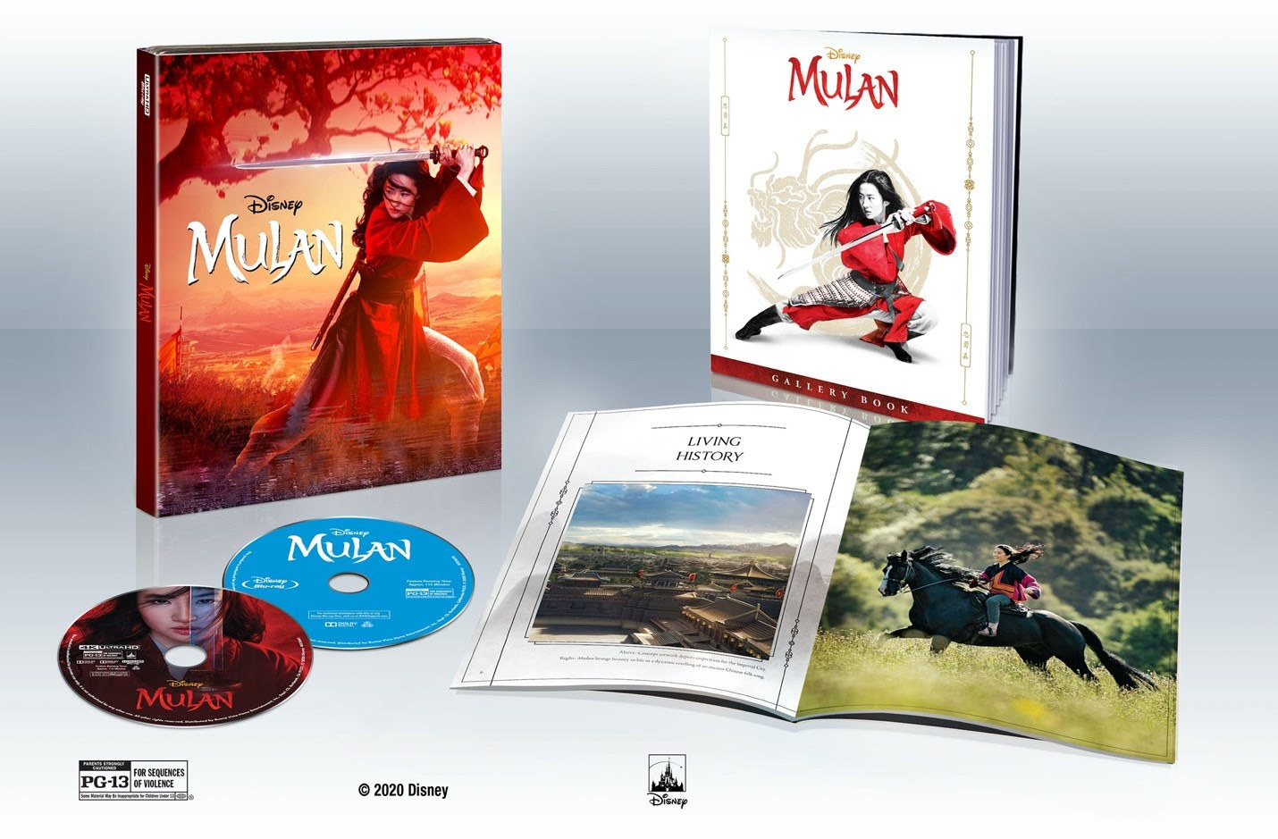 A package set of Mulan 4K discs and a Mulan gallery book