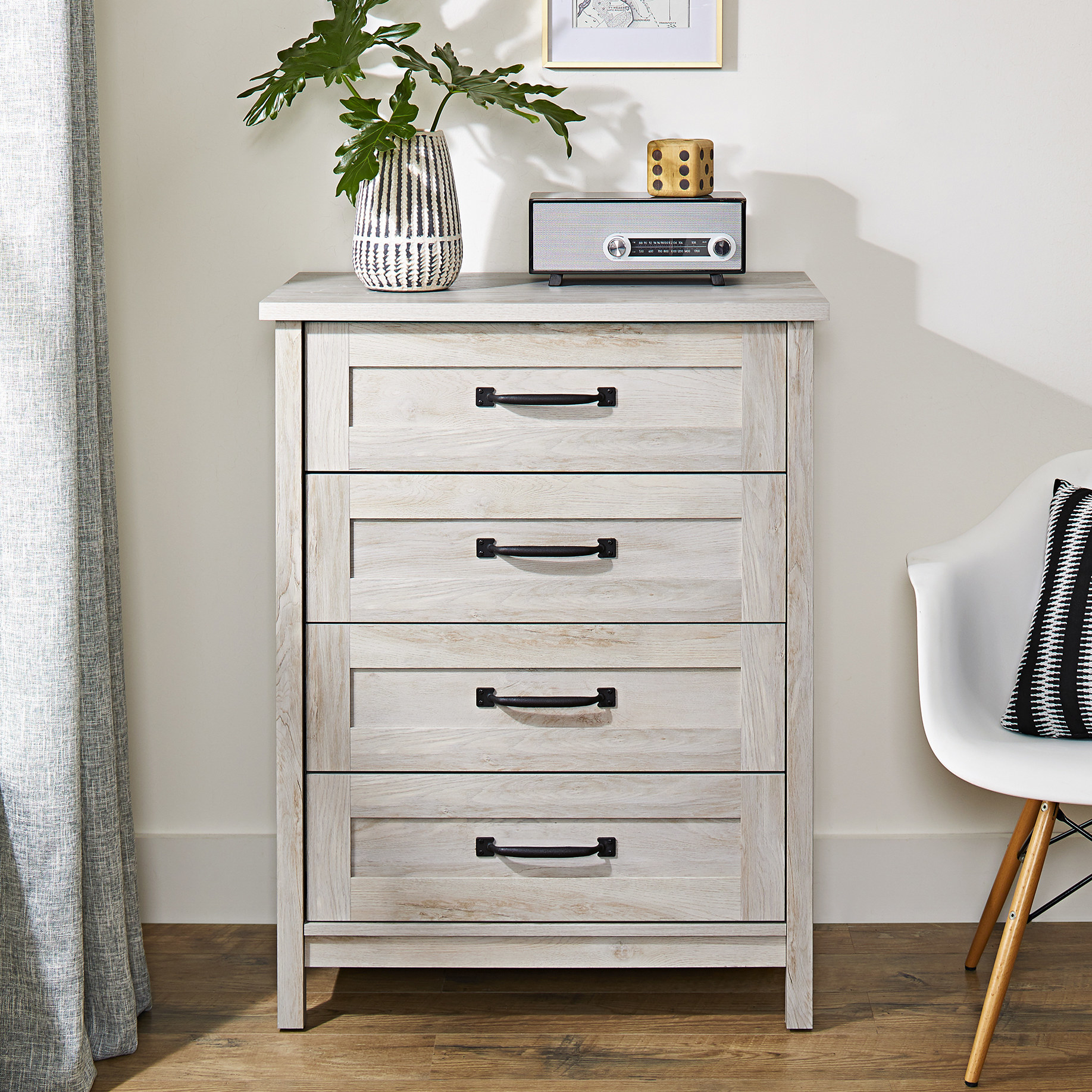 White finished standing dresser
