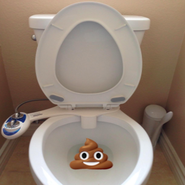 toilet with the bidet attachment on it and a poop emoji in the toilet