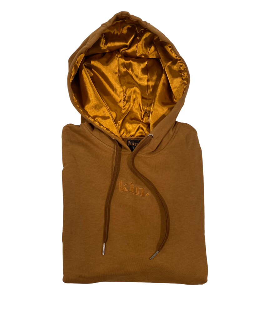 The brown hoodie with kin. embroidered in the center