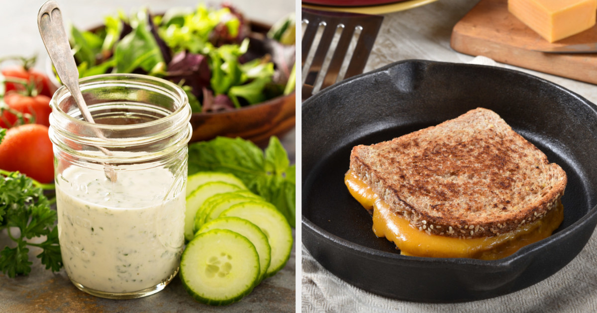 A mason jar of salad dressing; a grilled cheese being cooked in a cast-iron skillet
