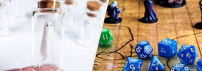 to the left: a mini ghost in a jar, to the right: dungeons and dragons dice