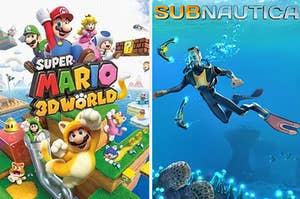 super mario 3d world on the left, subnautica on the right