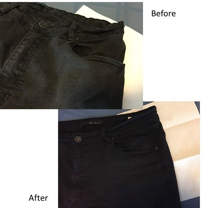 A reviewer's before and after photos which show their black jeans fully restored