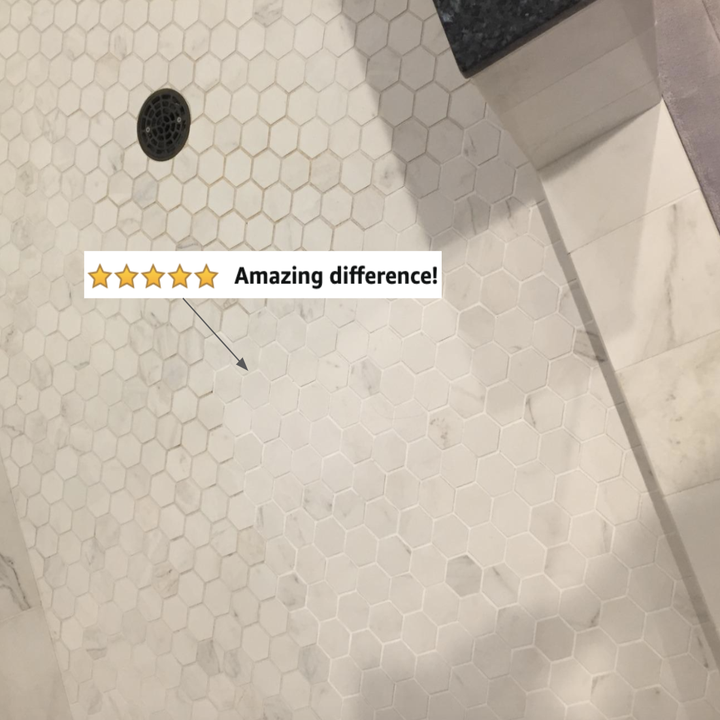 reviewer photo of grout looking clean on one side and dirty on the other