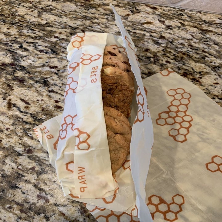 A reviewer's photo of the wrap used to keep cookies fresh