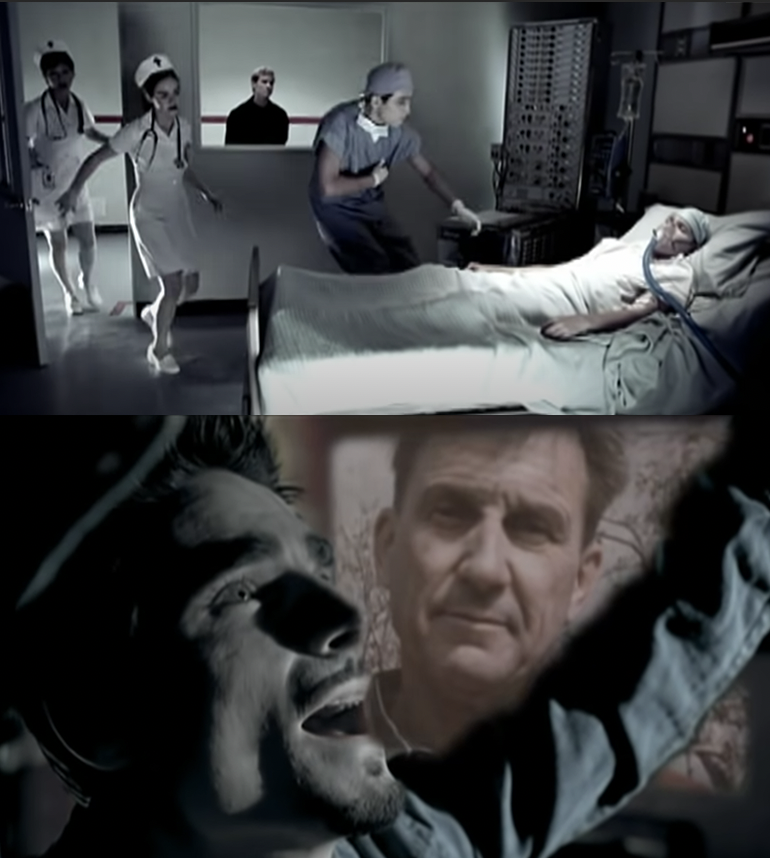 doctors rush into a hospital room and Kevin singing with a photo of his father in the background