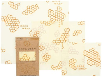A pack of beeswax wrap which comes with three differently sized sheets