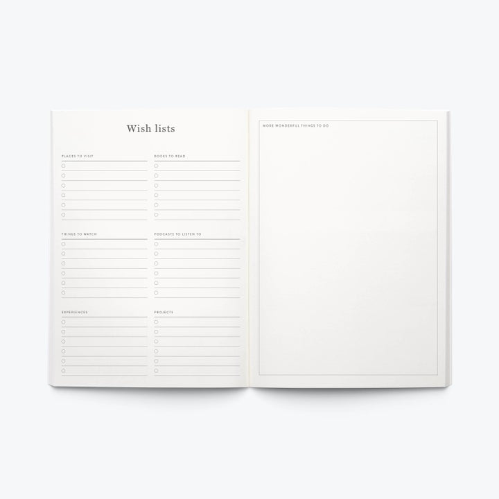 the inside of the wellness journal