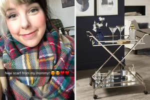 "On the right, a reviewer wrapped in a plaid scarf with the Snapchat caption ""New scarf from my mommy!"", on the right, a mirrored bar cart"