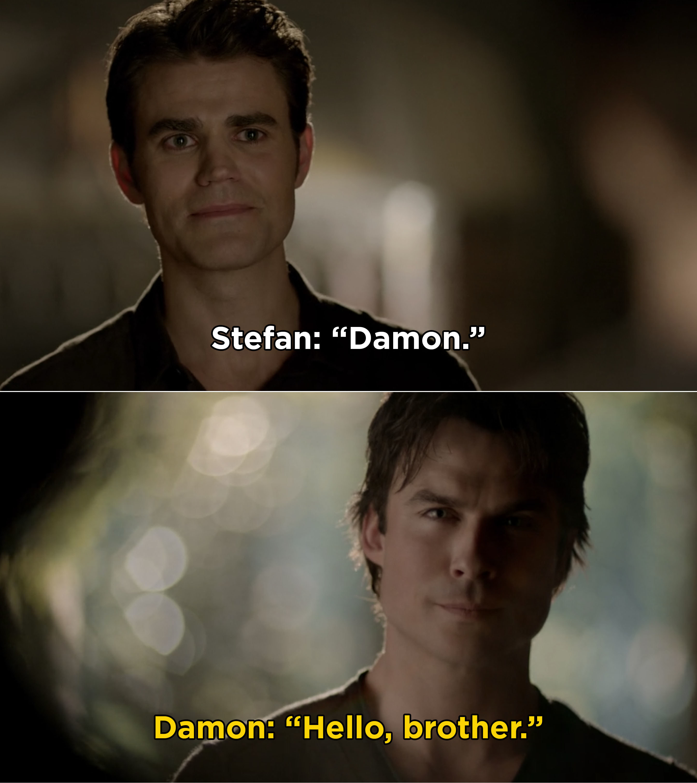 """Stefan and Damon reuniting during the series finale and Damon saying, """"Hello, brother"""""""