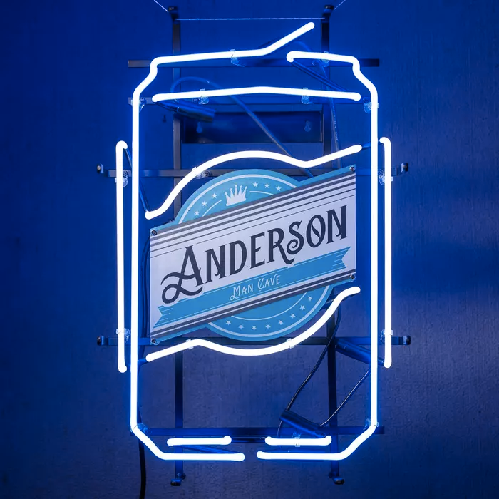 neon sign shaped like beer can that says anderson on the label with smaller text that says man crave below it