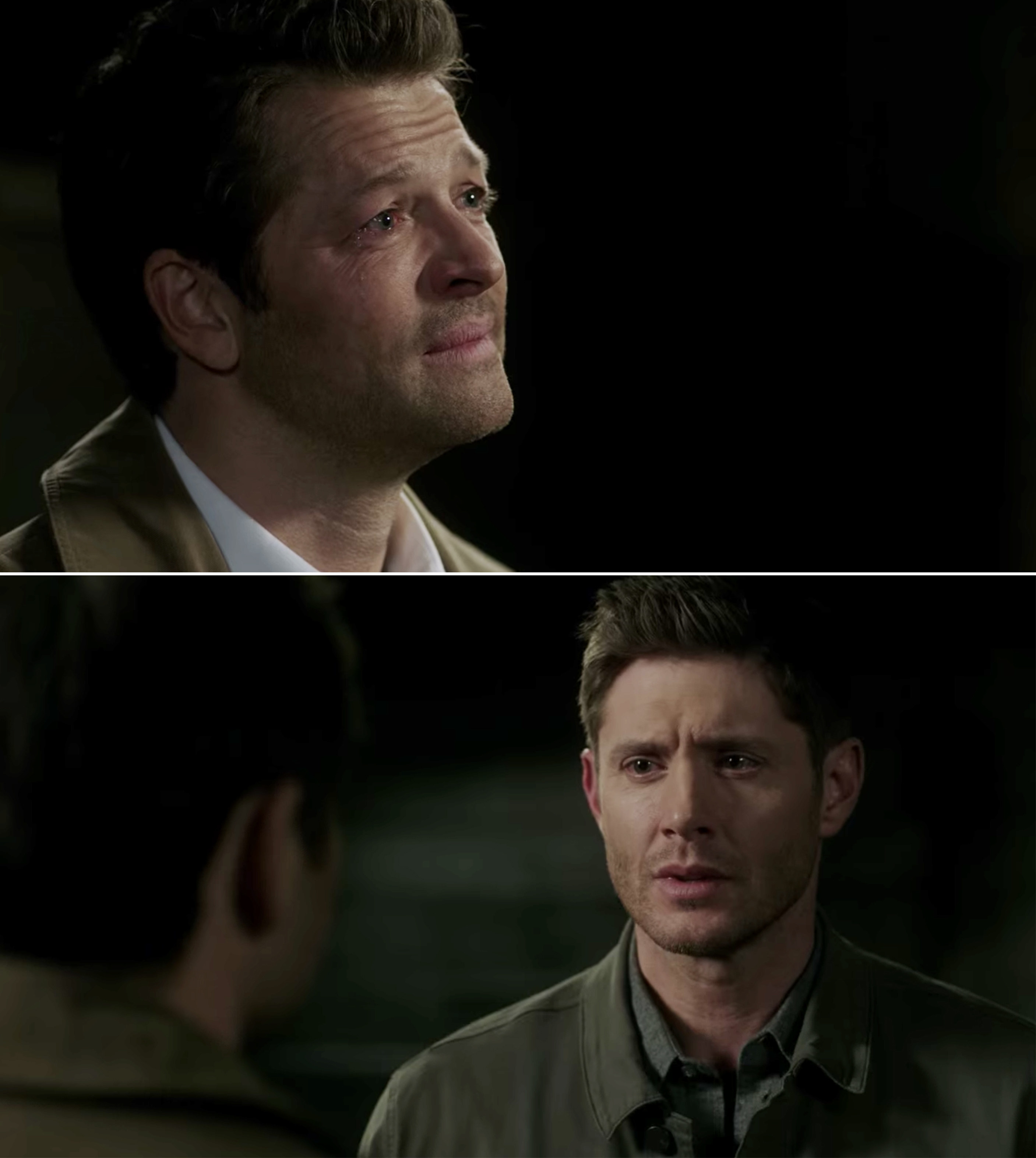 Castiel and Dean talking and Castiel crying