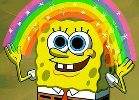 SpongeBob happily throwing a rainbow sign up