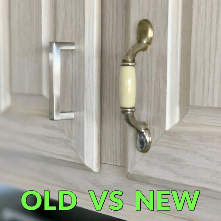 """reviewer photo showing new silver handle and outdated one with text """"old vs new"""""""