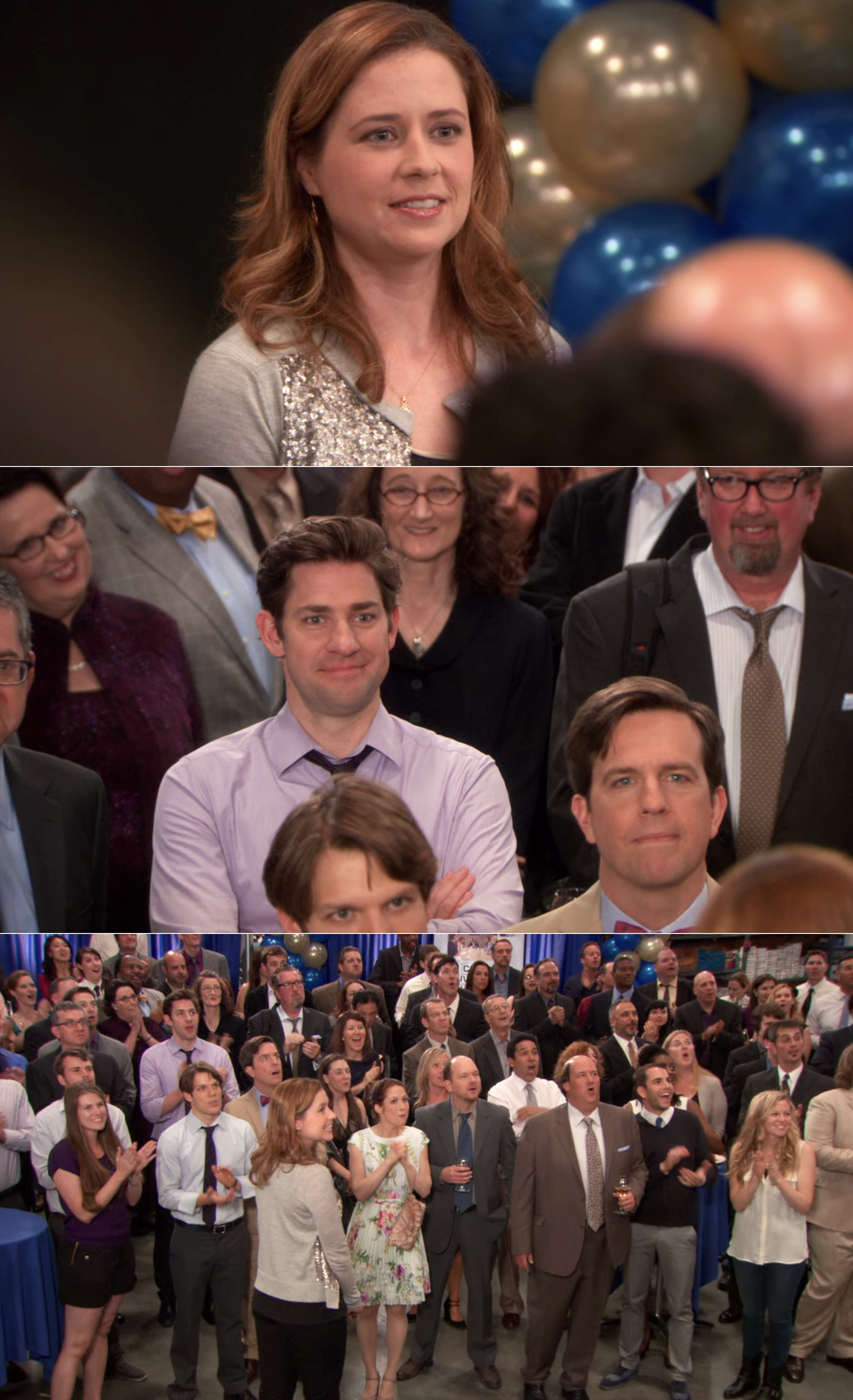 Everyone at Dunder Mifflin gathered and looking at Pam's latest painting