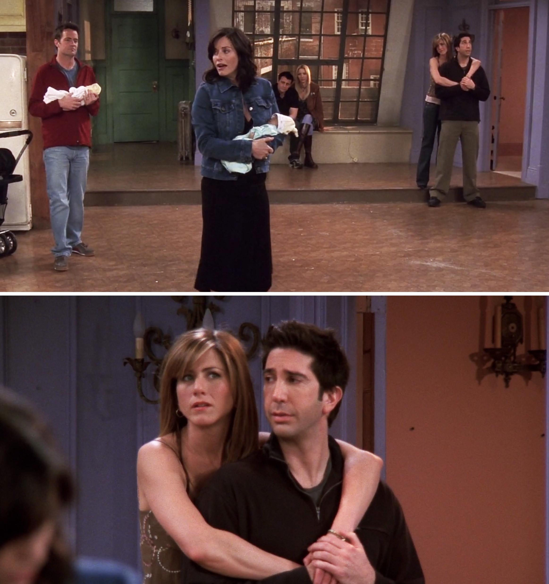Ross, Rachel, Joey, Phoebe, Chandler, and Monica saying goodbye to Monica's apartment
