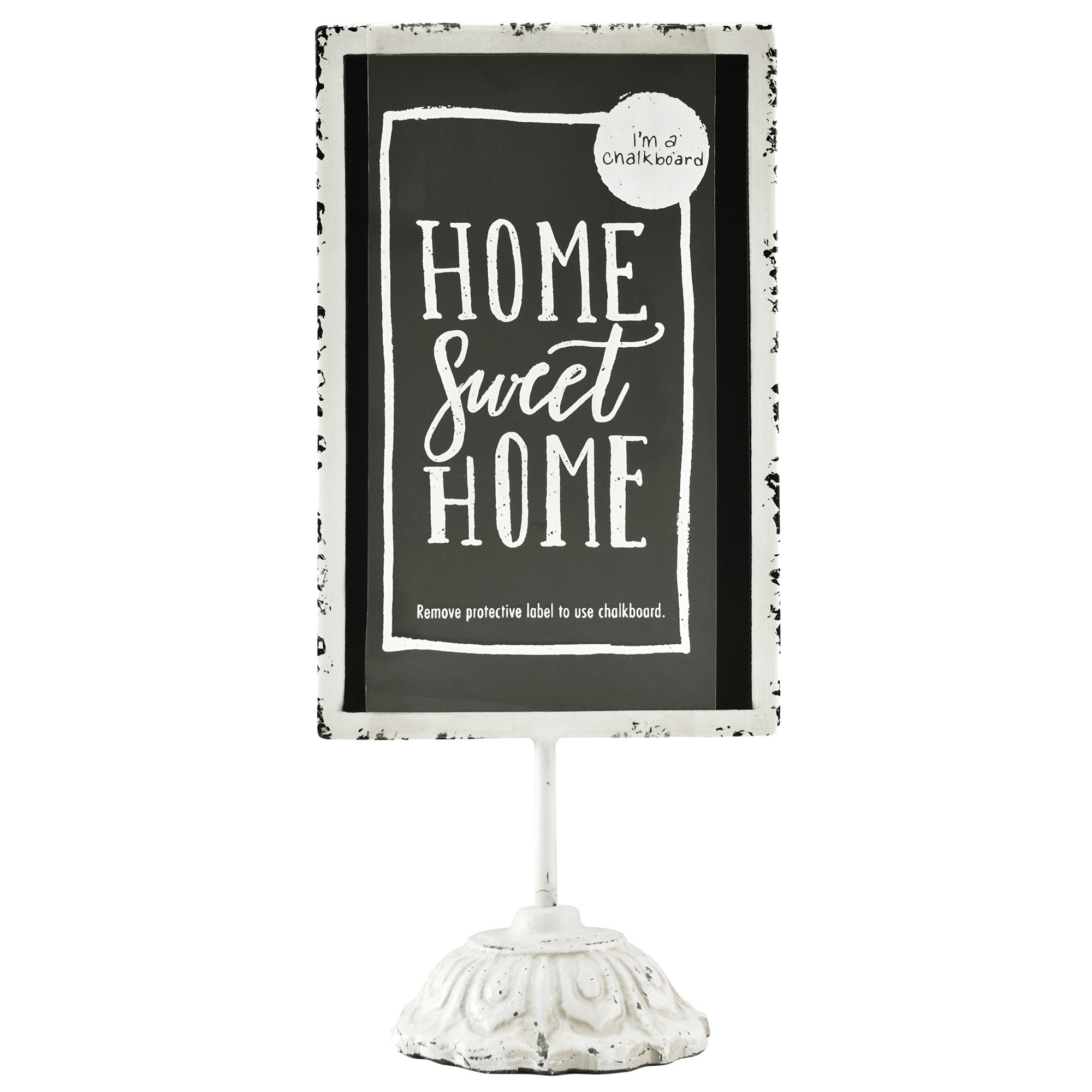"""The chalkboard with the phrase """"Home sweet home"""" written on it"""