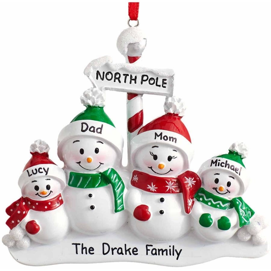 The personalized ornament with different snowmen for a family of four.
