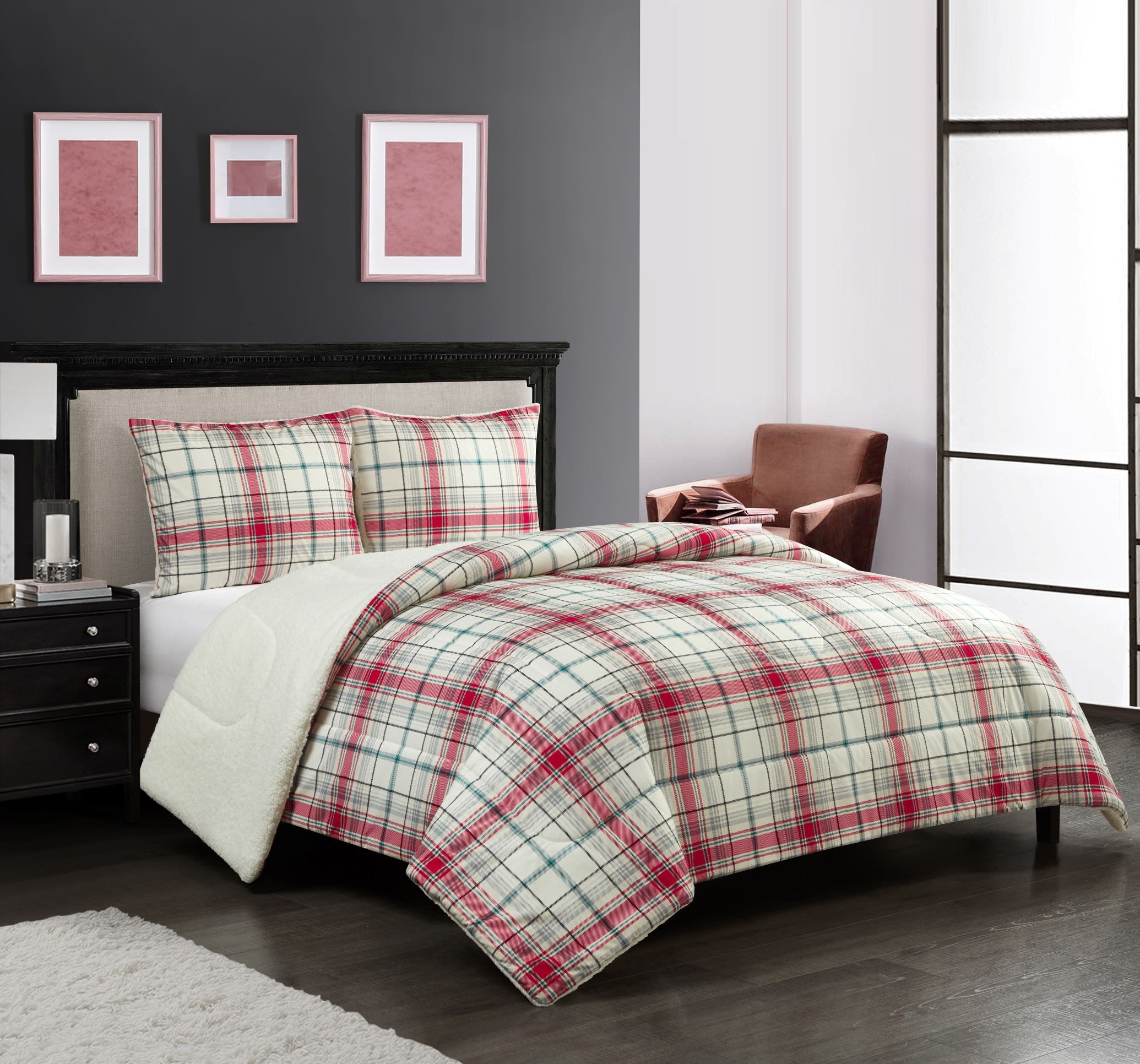 The sheet set on a queen bed