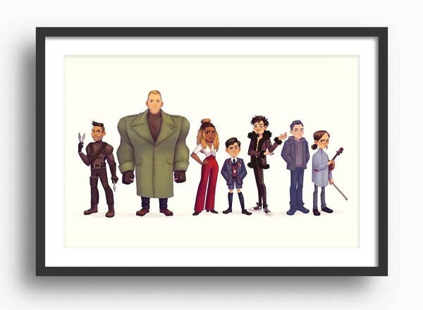 A cute watercolor illustration of the characters from Umbrella Academy standing in a line