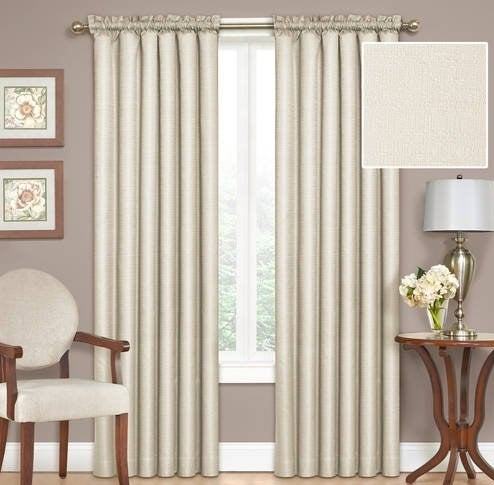 The curtains hanging in a living room