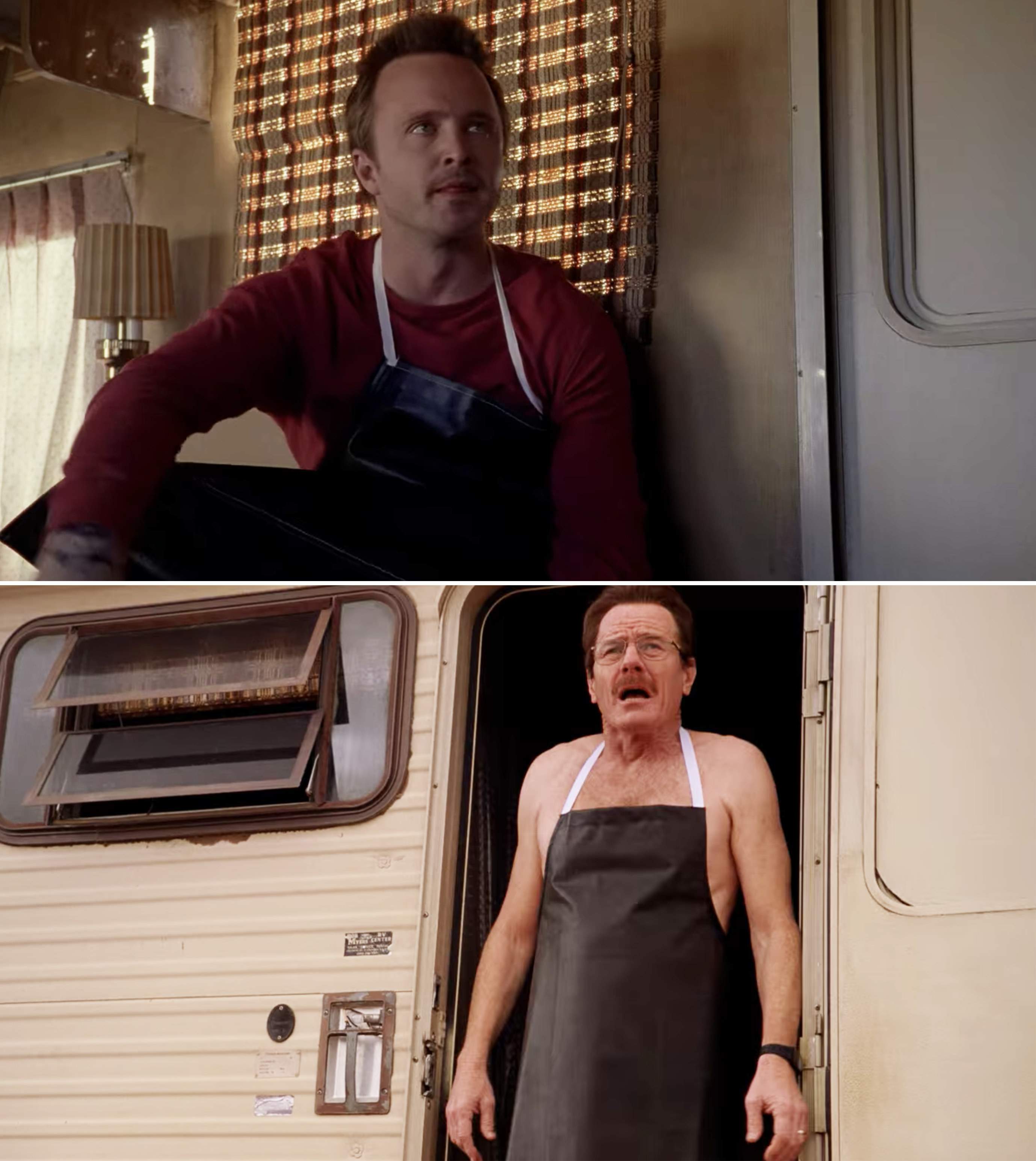 Jesse and Walt cooking in the RV