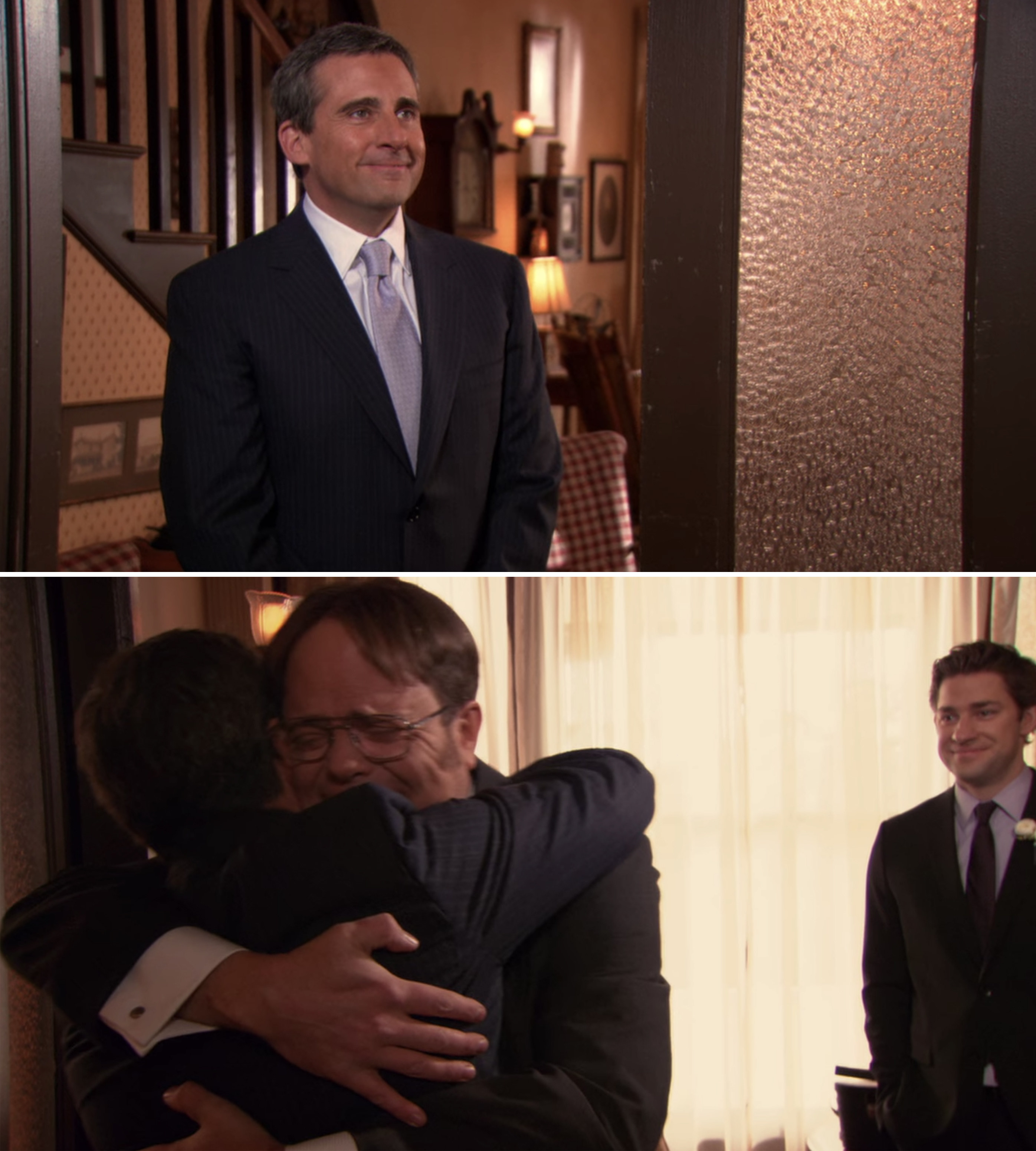 Dwight and Michael hugging after Michael surprises Dwight at his wedding