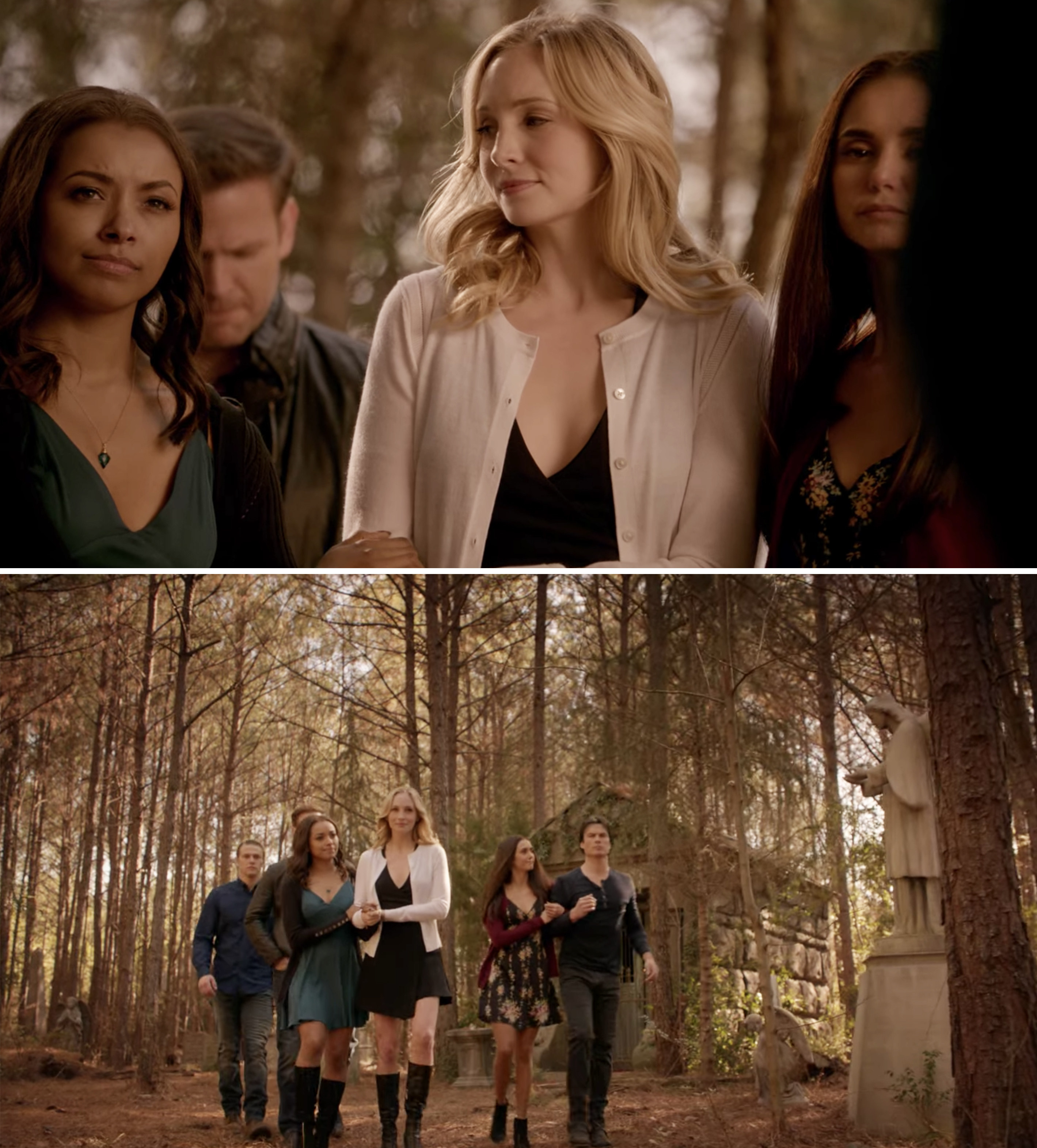 Caroline, Bonnie, Elena, Damon, Matt, and Alaric visiting Stefan's grave during the series finale