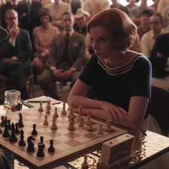 A closeup of Beth playing a chess game against an opponent while a crowd is watching; she is wearing a short-sleeved, navy blue shirt that has stripes running across the neckline