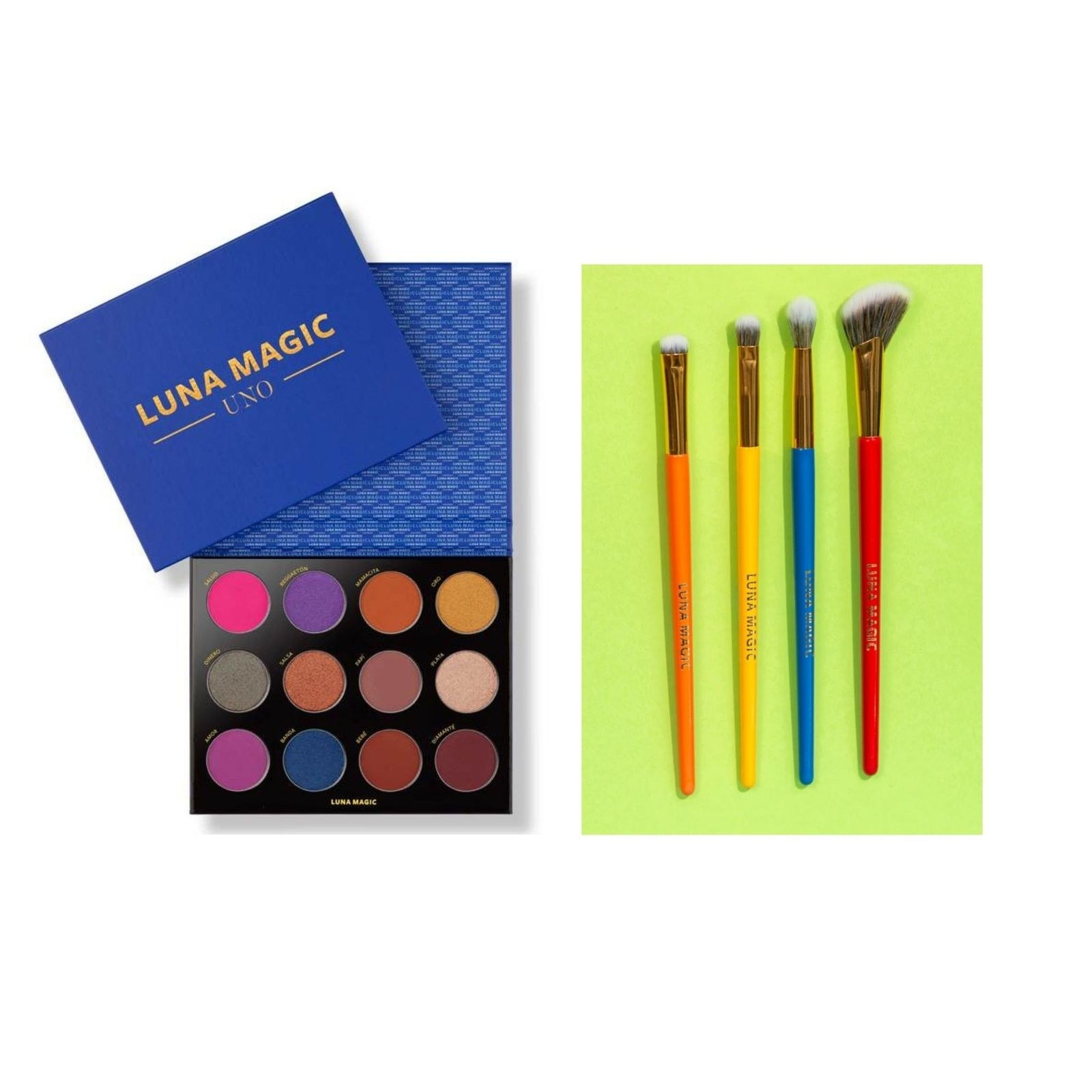 The Luna Magic Uno eyeshadow palette with 12 shades and a set of four brushes