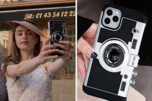 Emily in Paris holding her phone and a phone case that looks like an old camera