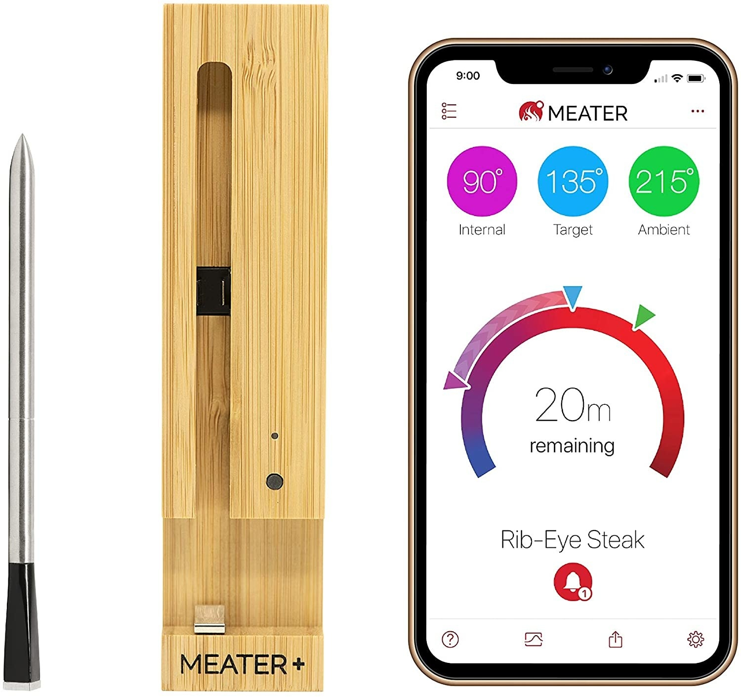 Meat thermometer, charging stand, and smartphone with accompanying app on screen