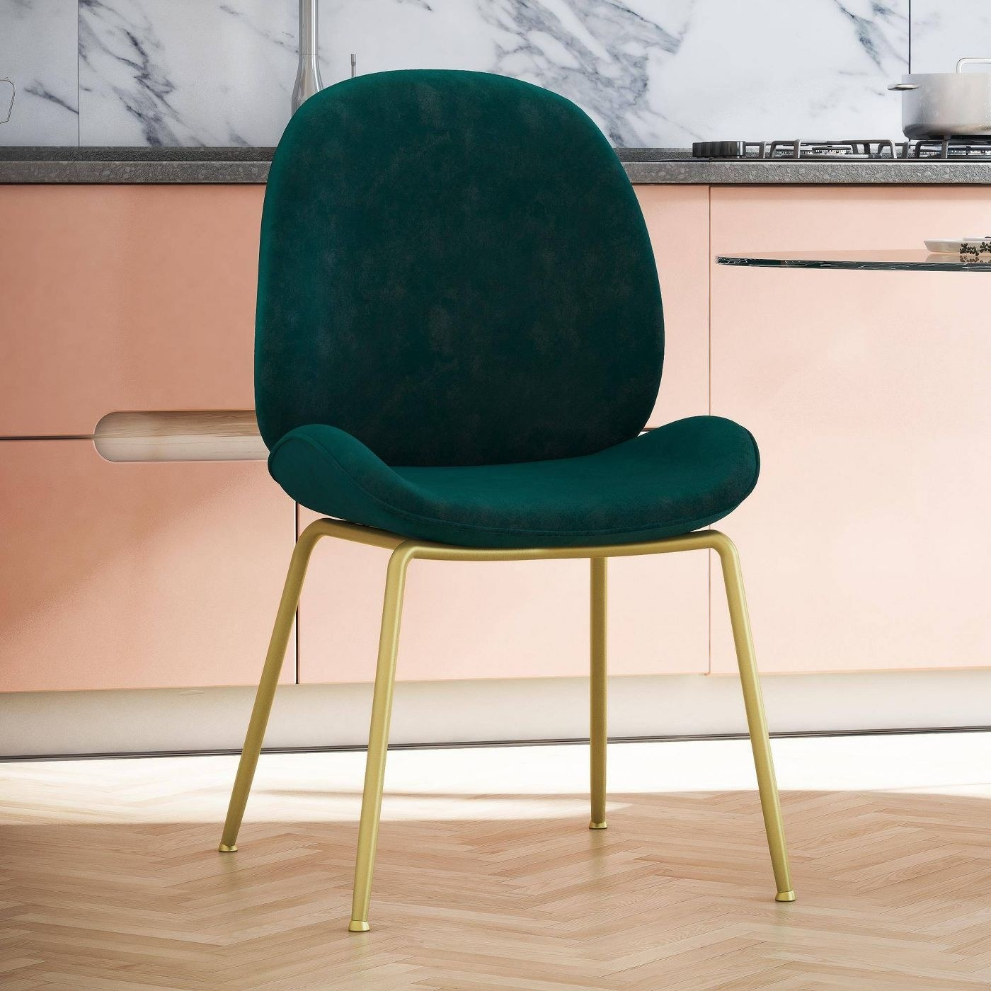 The green dining chair