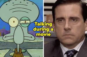"""Squidward's eye twitches in the show """"Spongebob Squarepants"""" and Steve Carell as Michael Scott in the show """"The Office."""""""