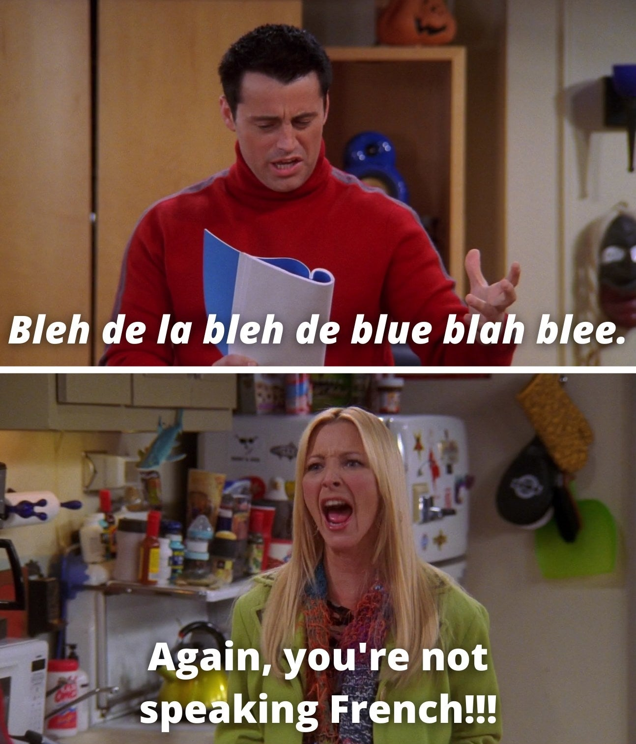 "Joey saying, ""Bleh de la bleh de blue blah blee,"" and Phoebe saying, ""Again, you're not speaking French"""