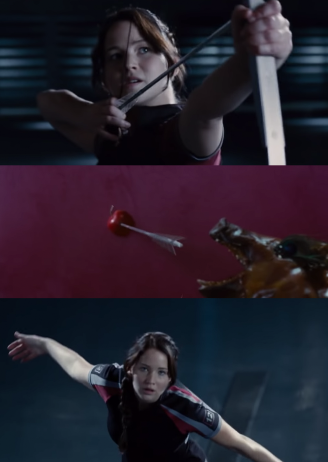 """Jennifer Lawrence as Katniss Everdeen in the movie """"The Hunger Games."""""""