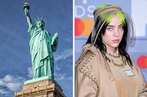 On the left, the Statue of Liberty, and on the right, Billie Eilish
