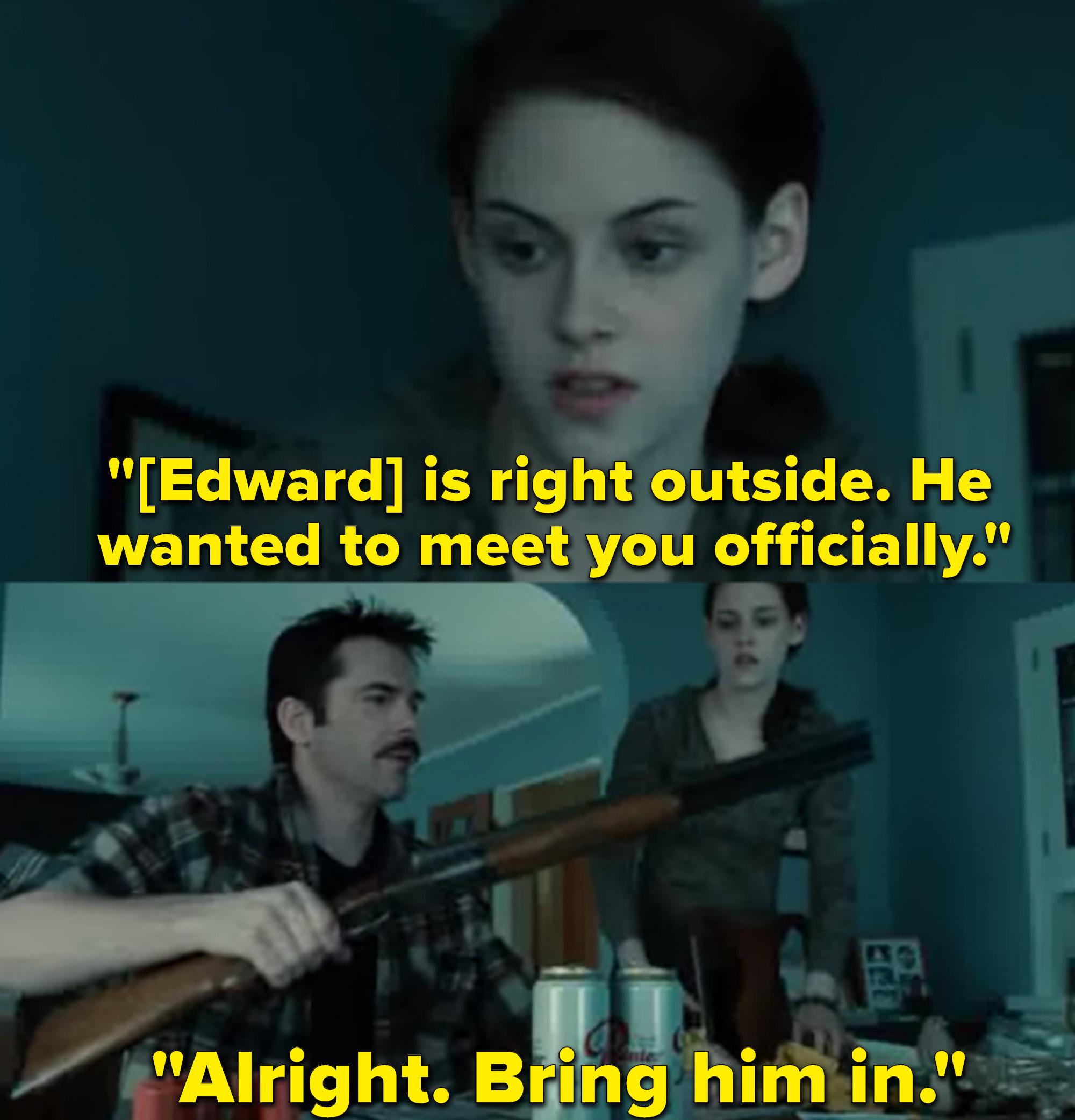 """Kristen Stewart as Bella Swan and Billy Burke as Charlie Swan in the movie """"Twilight."""""""