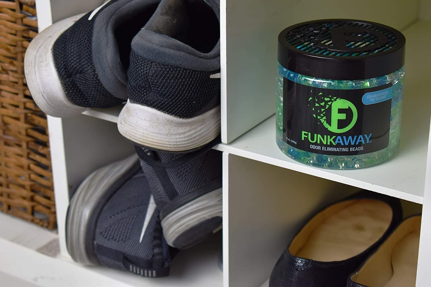 The odour-absorbing beads in a shoe closet