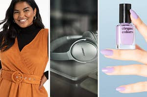 L: Model wearing burnt orange suede jumper dress M: Silver Bose noise-cancelling headphones R: Model holding pastel lilac nail polish