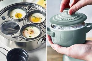 egg-poaching pan next to mini dutch oven