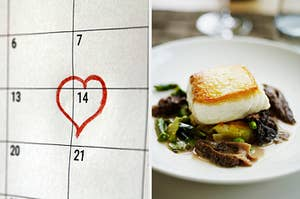 On the left, 14 on a calendar circled with a heart, and on the right, a fish on top of some roasted veggies