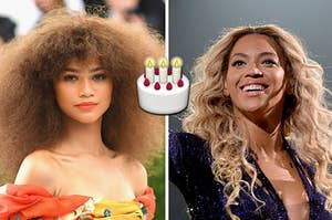 Zendaya on the left and Beyonce on the right with a birthday cake emoji in between them