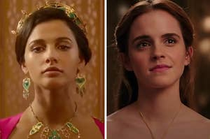Jasmine is on the left wearing a crown with Belle on the right looking up