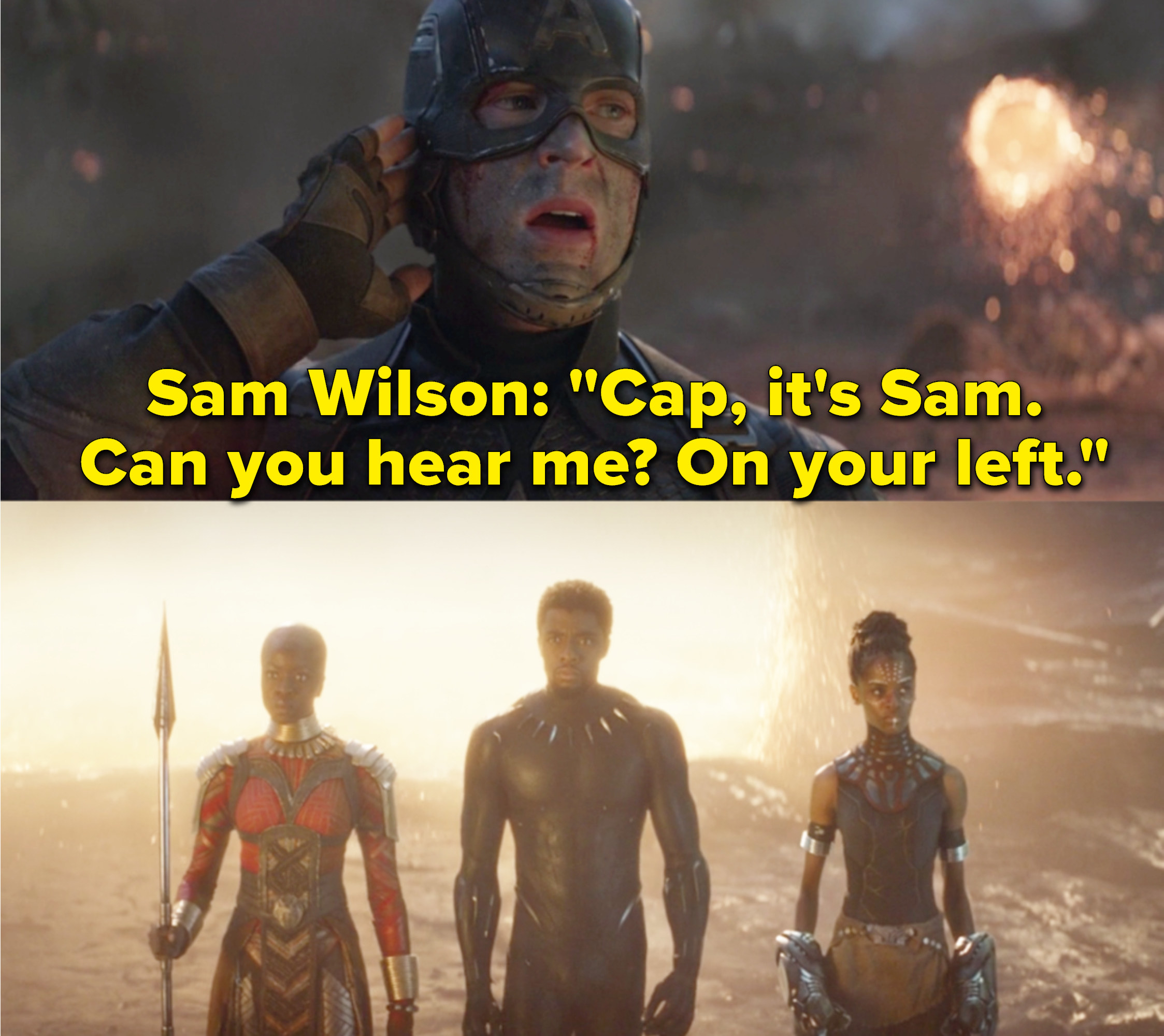 "Chris Evans as Steve Rogers / Captain America, Danai Gurira as Okoye, Chadwick Boseman as T'Challa / Black Panther, and Letitia Wright as Shuri in the movie ""Avengers: Endgame."""